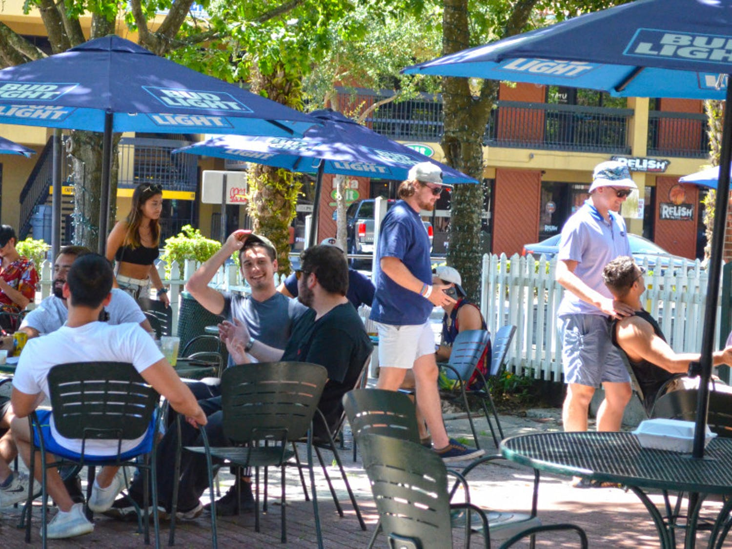 People gather at The Swamp Restaurant May 5, one day afterGov. Ron Desantis began to re-open the state economy.