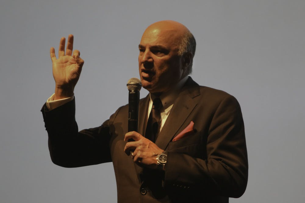 """<p><span id=""""docs-internal-guid-eaab8d9a-7fff-296c-e5d9-c71d3ab103d3""""><span>Kevin O'Leary, the 64-year-old businessman and star of the television show """"Shark Tank,"""" speaks Monday to a packed auditorium at the Phillips Center for the Performing Arts at UF. O'Leary used clips from the television show during the presentation and took questions from the audience at the end.</span></span></p>"""