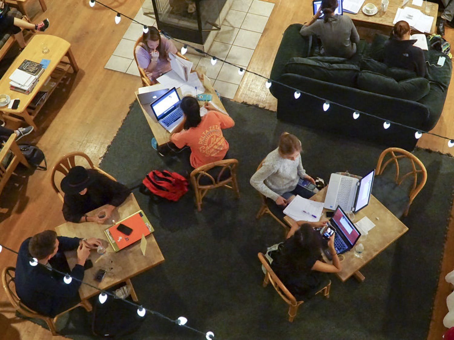 Students crowd Pascal's Coffeehouse on Dec. 8, 2015. Juan Alcala, the study center's manager, said students always bring more business during finals week.