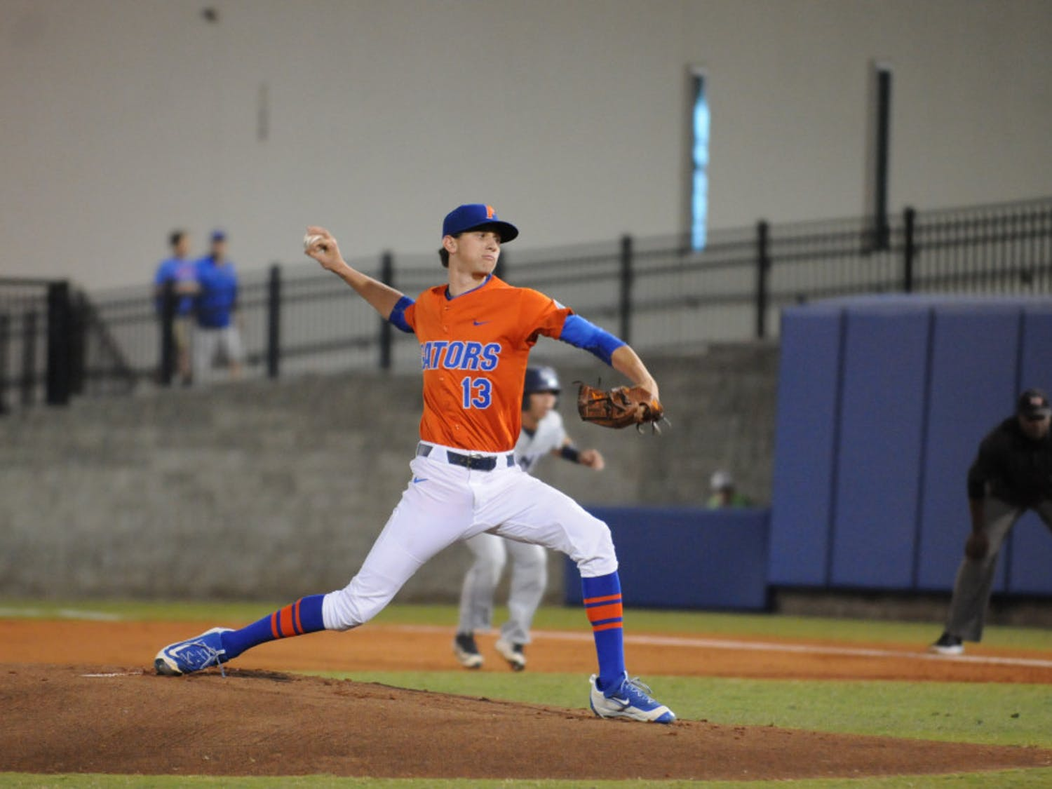 Jackson Kowar pitches during Florida's 5-4 win over North Florida on March 9, 2016, at McKethan Stadium.