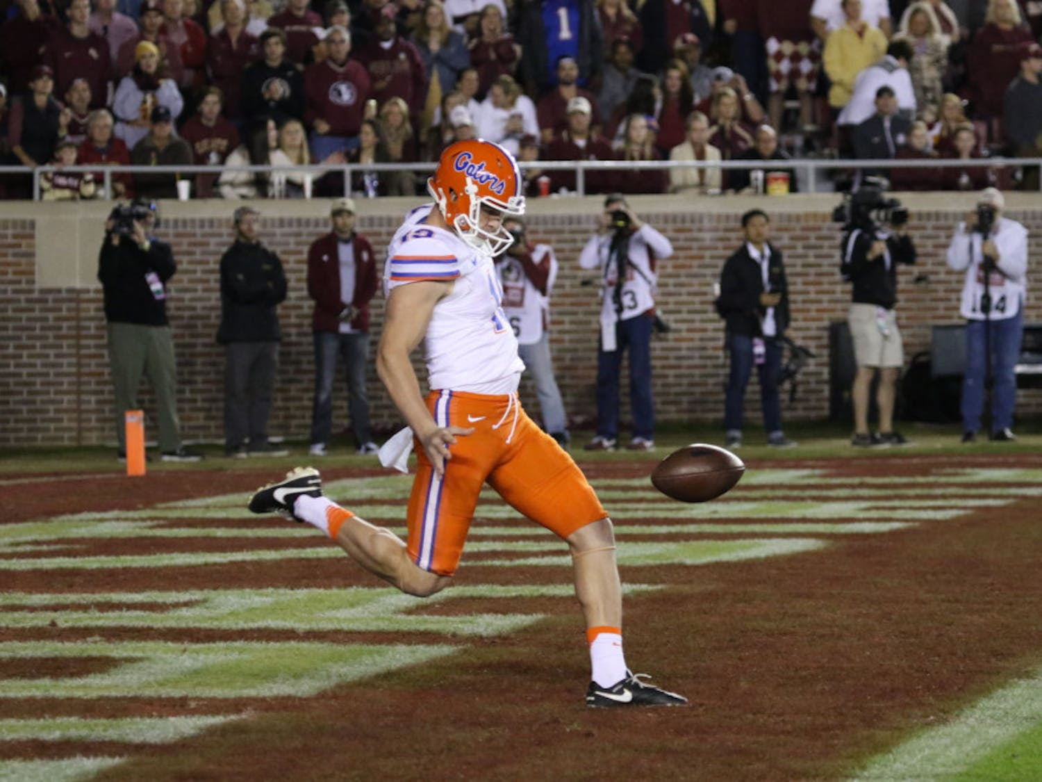 Johnny Townsend punts during Florida's 31-13 loss to Florida State on Nov. 26, 2016, at Doak Campbell Stadium.