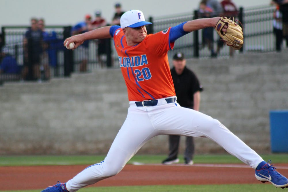 <p>UF pitcher Nick Pogue picked up his first loss of the season Tuesday night. He allowed one earned run and four hits in three innings of work.</p>