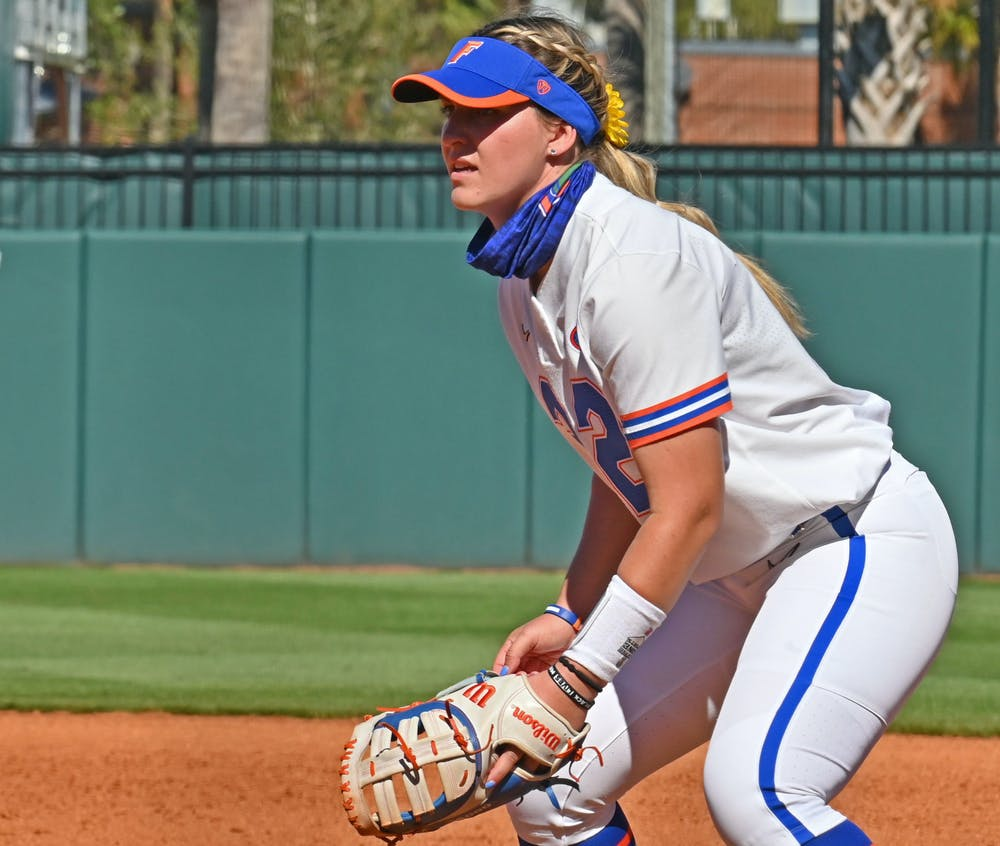 Kendyl Lindaman in the field on Feb 20. Lindaman and the Gators host USF Friday