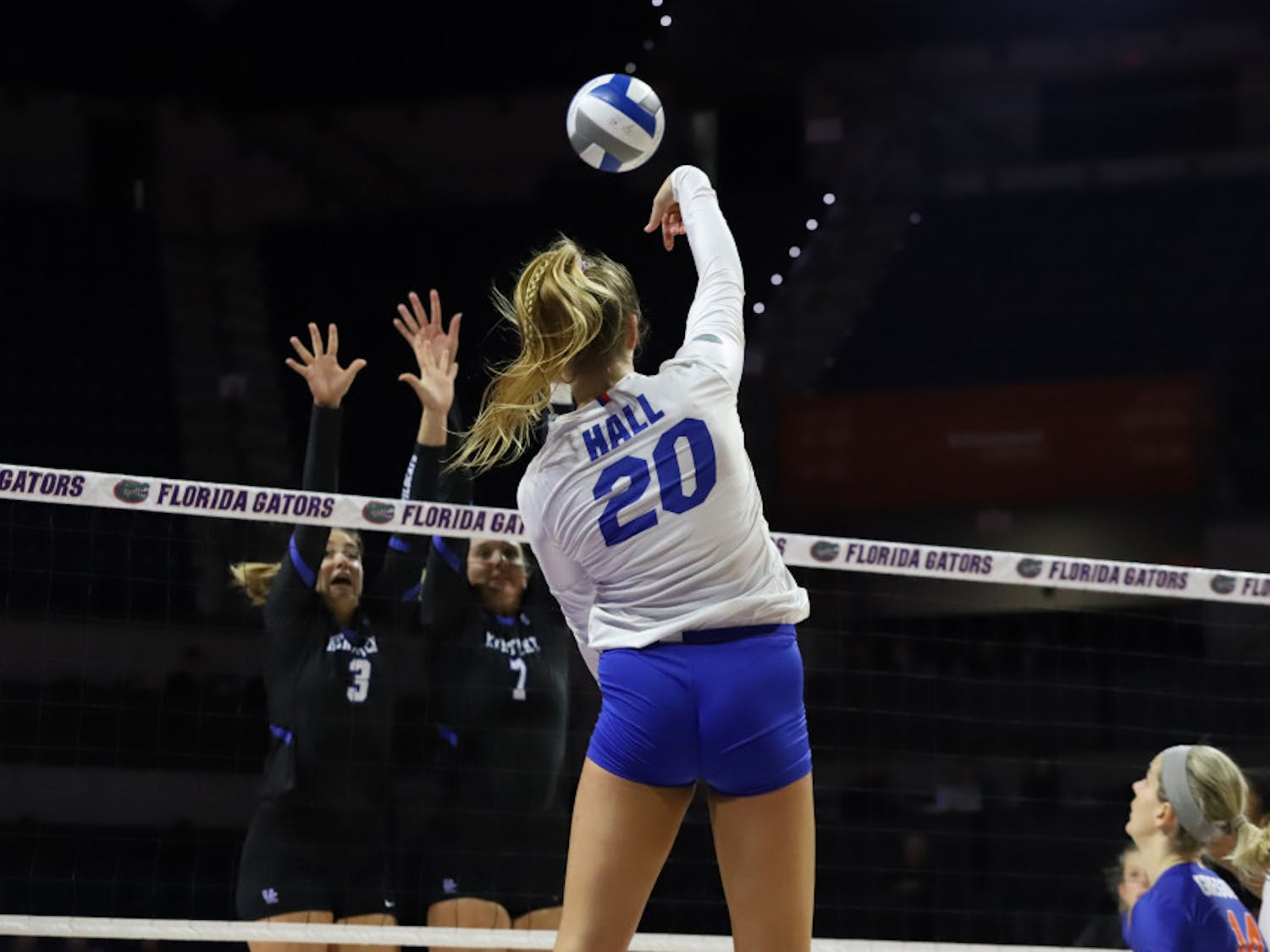 Sophomore Thayer Hall leads the team with 369 kills on the season through 26 matches, 144 more kills than the next-best player.