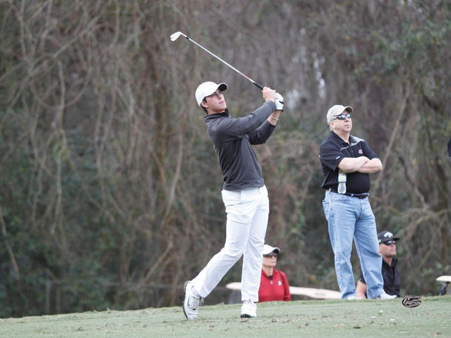 UF's Gordon Neale hits a shot during the SunTrust Gator Invitational on Feb. 18, 2017, at the Mark Bostic Golf Course.