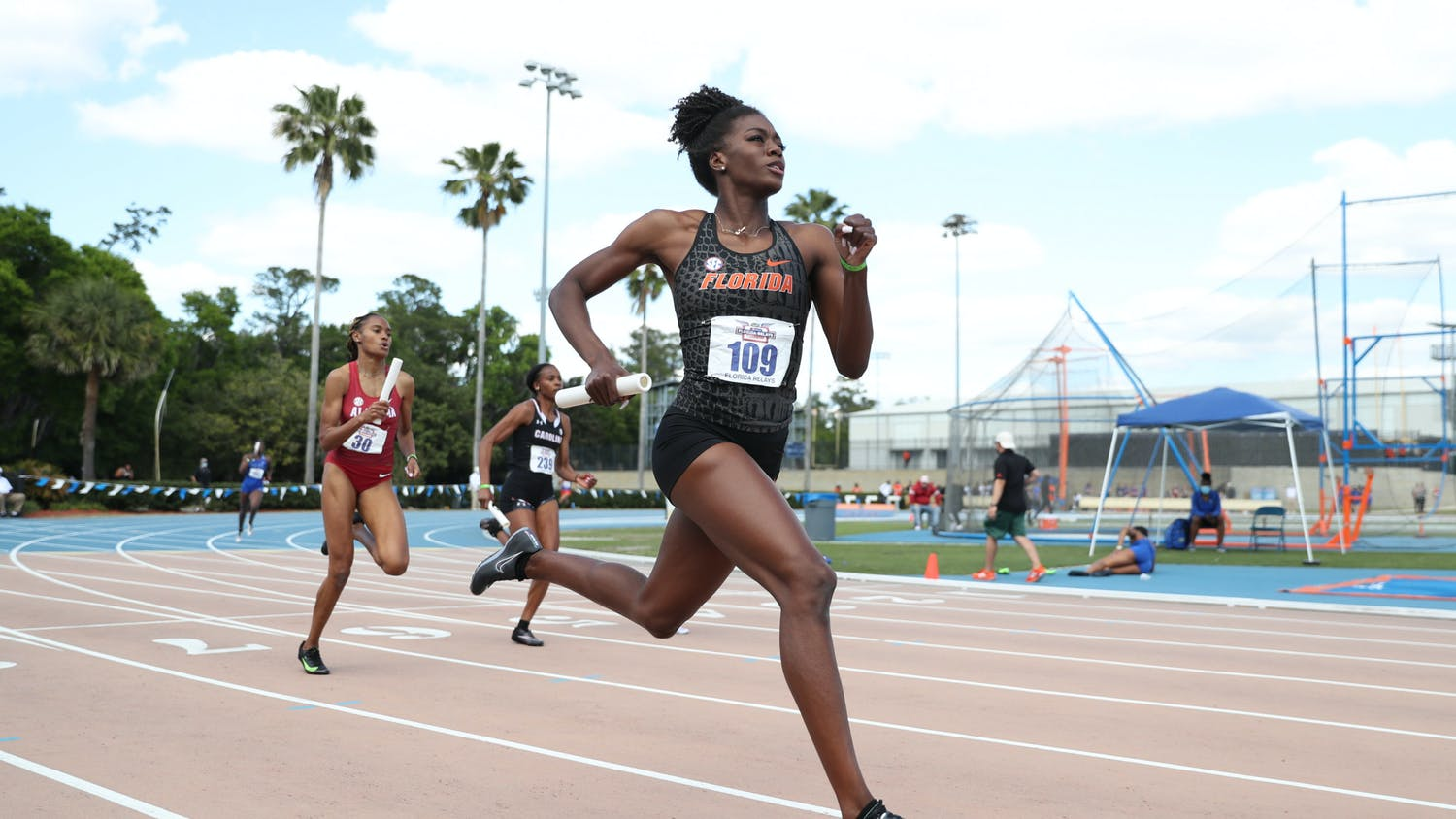 Florida's Taylor Manson competes during the Pepsi Florida Relays on Saturday, April 3, 2021 at Percy Beard Track at James G. Pressly Stadium in Gainesville, Fla. / UAA Communications photo by Hannah White