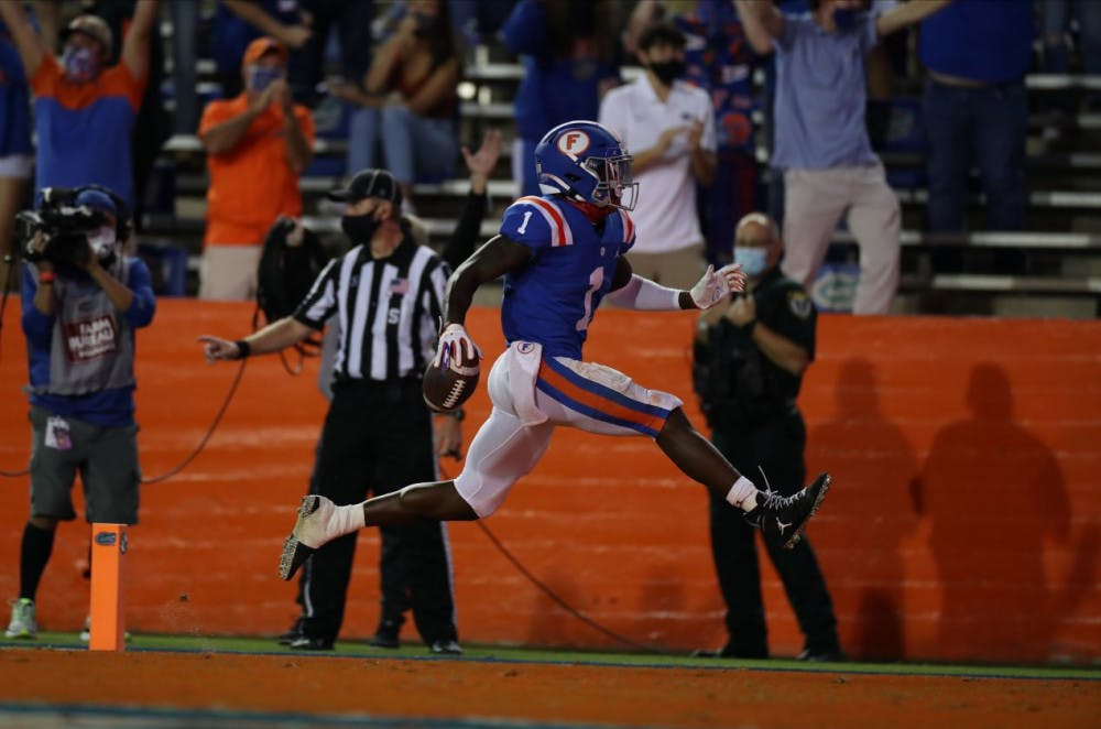 <p>Senior Kadarius Toney had three touchdowns Saturday night in Florida's drubbing of Missouri at home. </p>