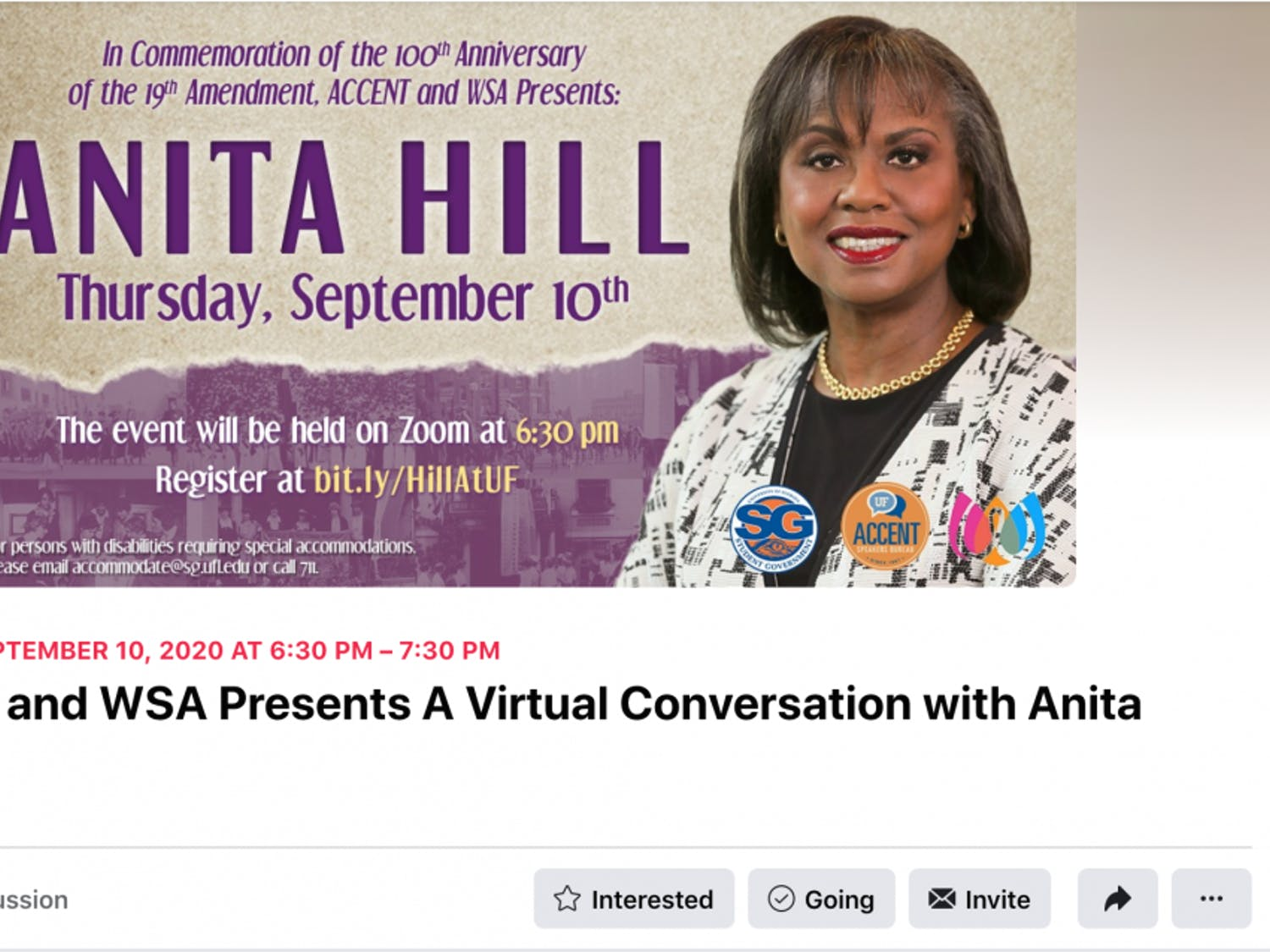 Anita Hill spoke to UF in a 45-minute virtual interview Thursday. The event was be moderated byDebra Walker King, a UF English professor, and was hosted byAccent Speakers Bureau and the Women's Student Association.