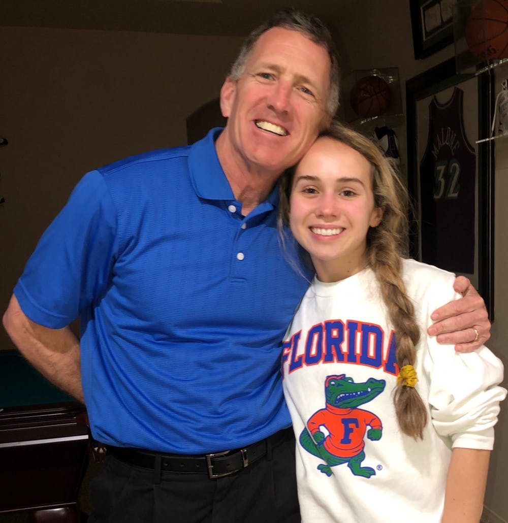 <p>Alexa Farmer, 17, was recently accepted to the UF class of 2024 with her dad, John Farmer, a UF alumnus. Farmer had a 5.5 GPA and got a 1390 on her SAT.</p>