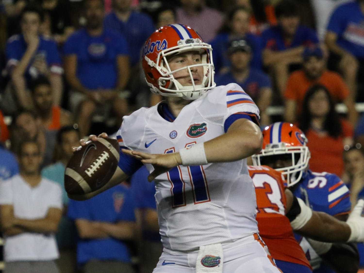 Quarterback Kyle Trask was carted off the Gators' practice field with a lower body injury Wednesday, according at a 247Sports report.