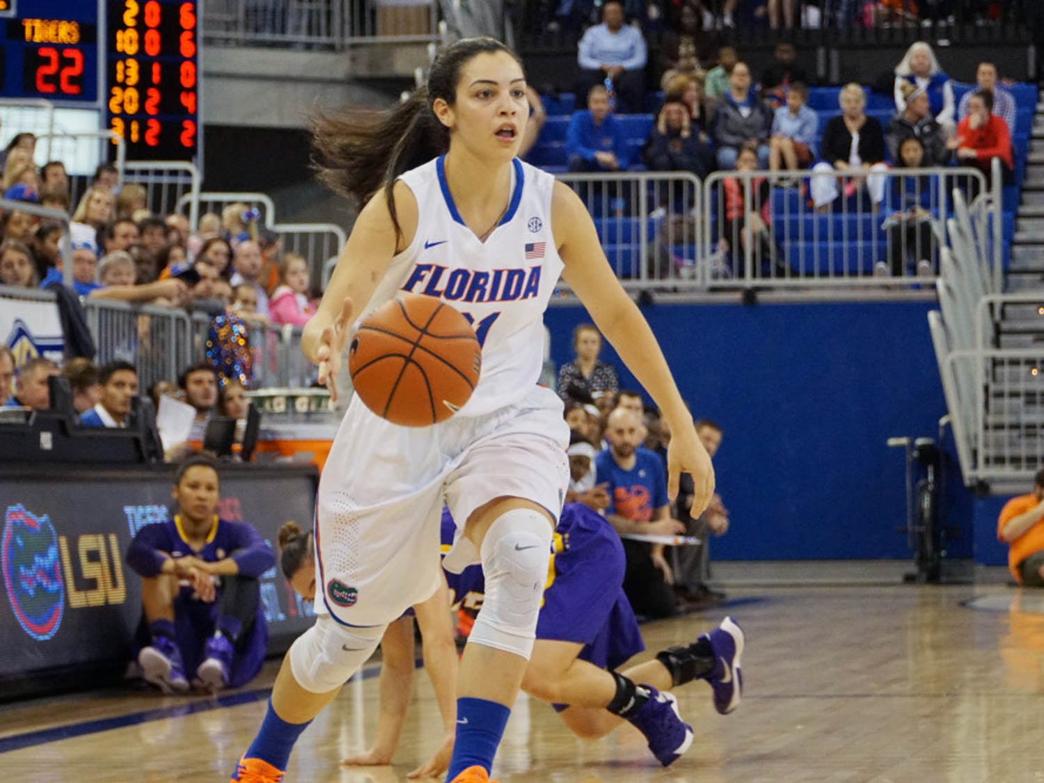 UF guard Eleanna Christinaki drives down the courtduring Florida's 53-45 win against LSU on Jan. 17, 2016, in the O'Connell Center.