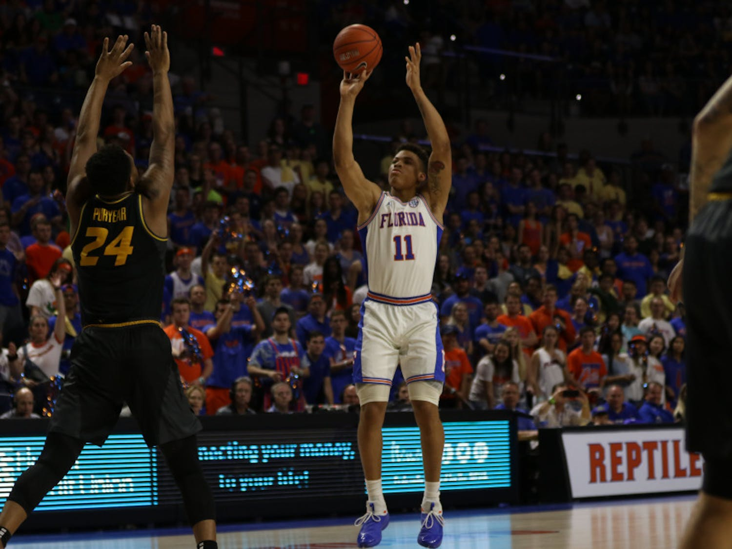 Florida forward Keyontae Johnson scored 13 points on 4-of-8 shooting in UF's 64-60 win over Missouri on Saturday at the O'Connell Center.
