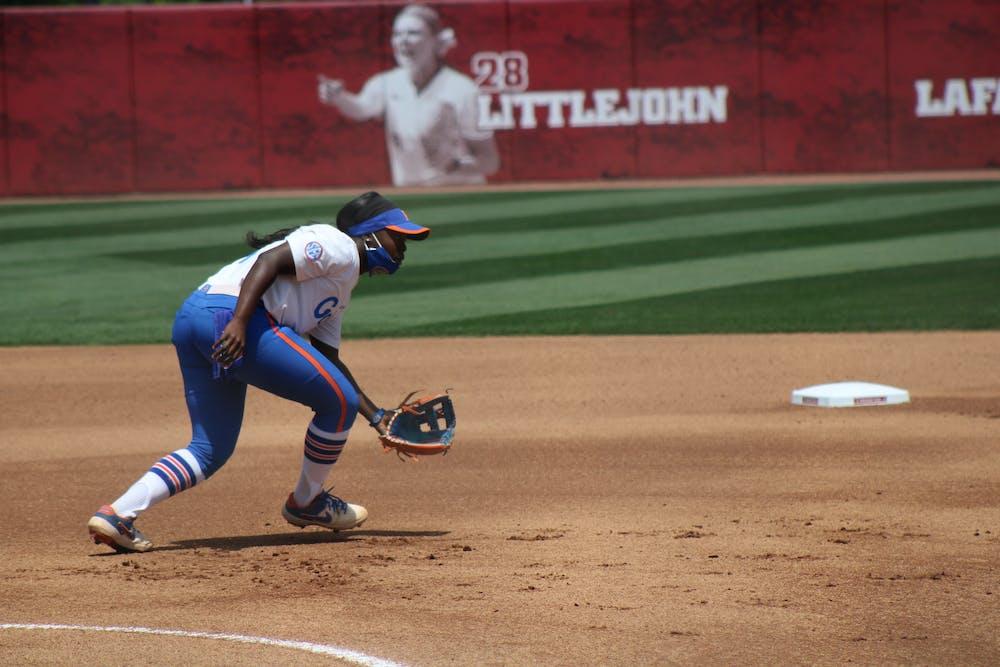 Charla Echols fields a ball against Alabama on April 17. Echols won the game in walk-off fashion with a three-run home run Friday.