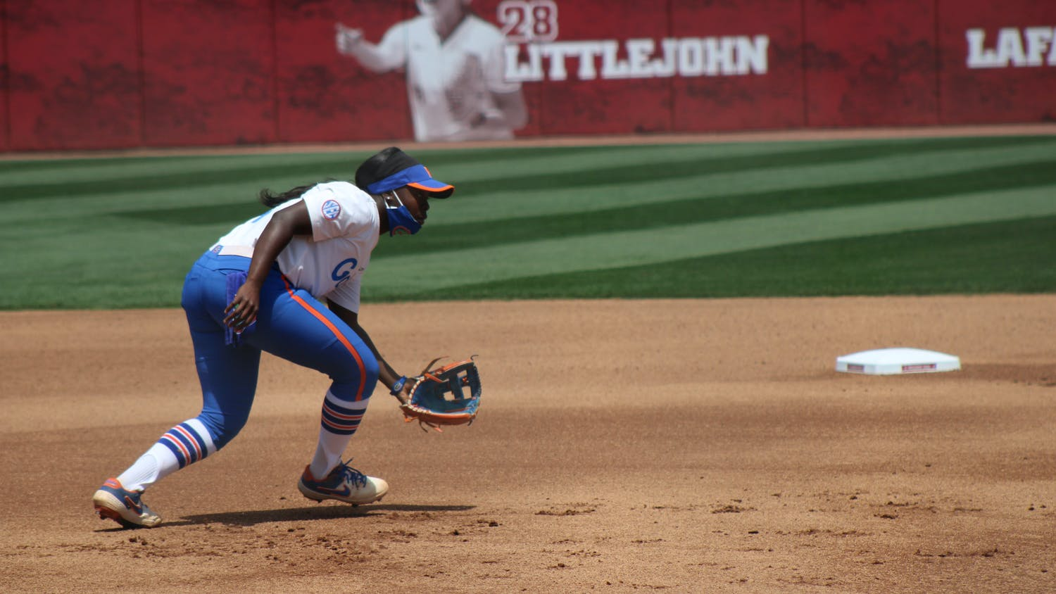 Charla Echols fields a ball against Alabama on April 17. Echols won the game in walk-off fashion with a three-run home run Friday.
