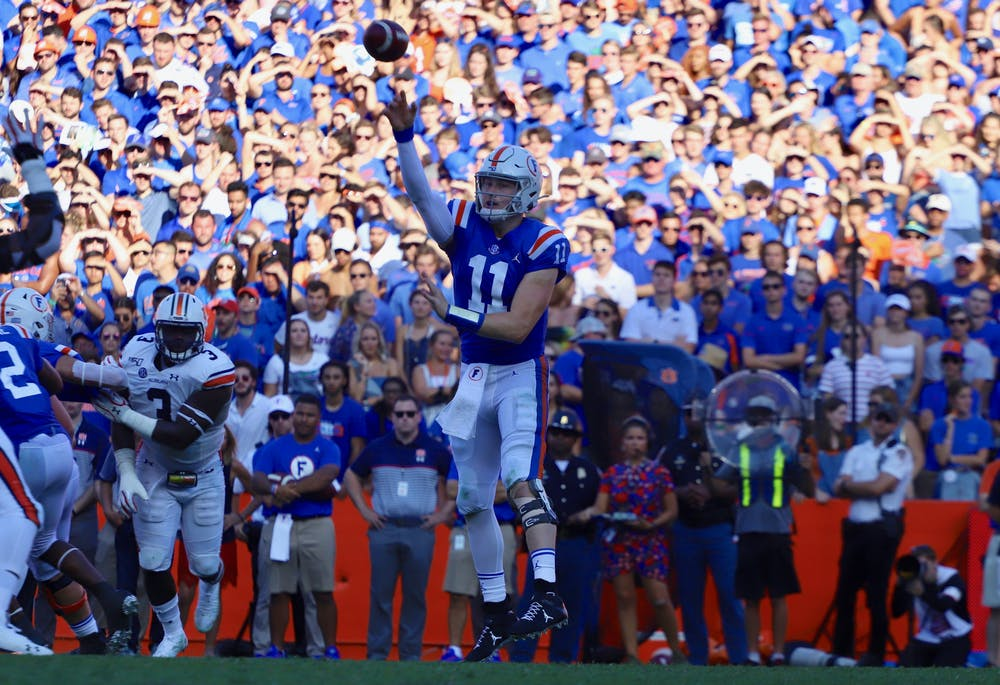 <p>Gators quarterback Kyle Trask, who is a finalist for the Heisman after a record season, declared for the NFL Draft Thursday. Photo from the Florida-Auburn game in October 2019.</p>