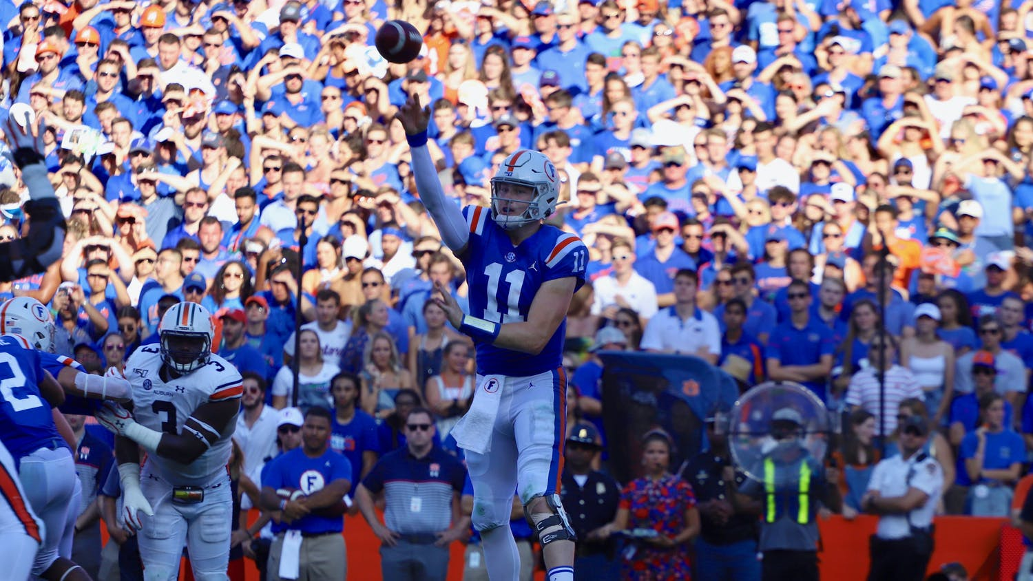 Gators quarterback Kyle Trask, who is a finalist for the Heisman after a record season, declared for the NFL Draft Thursday. Photo from the Florida-Auburn game in October 2019.