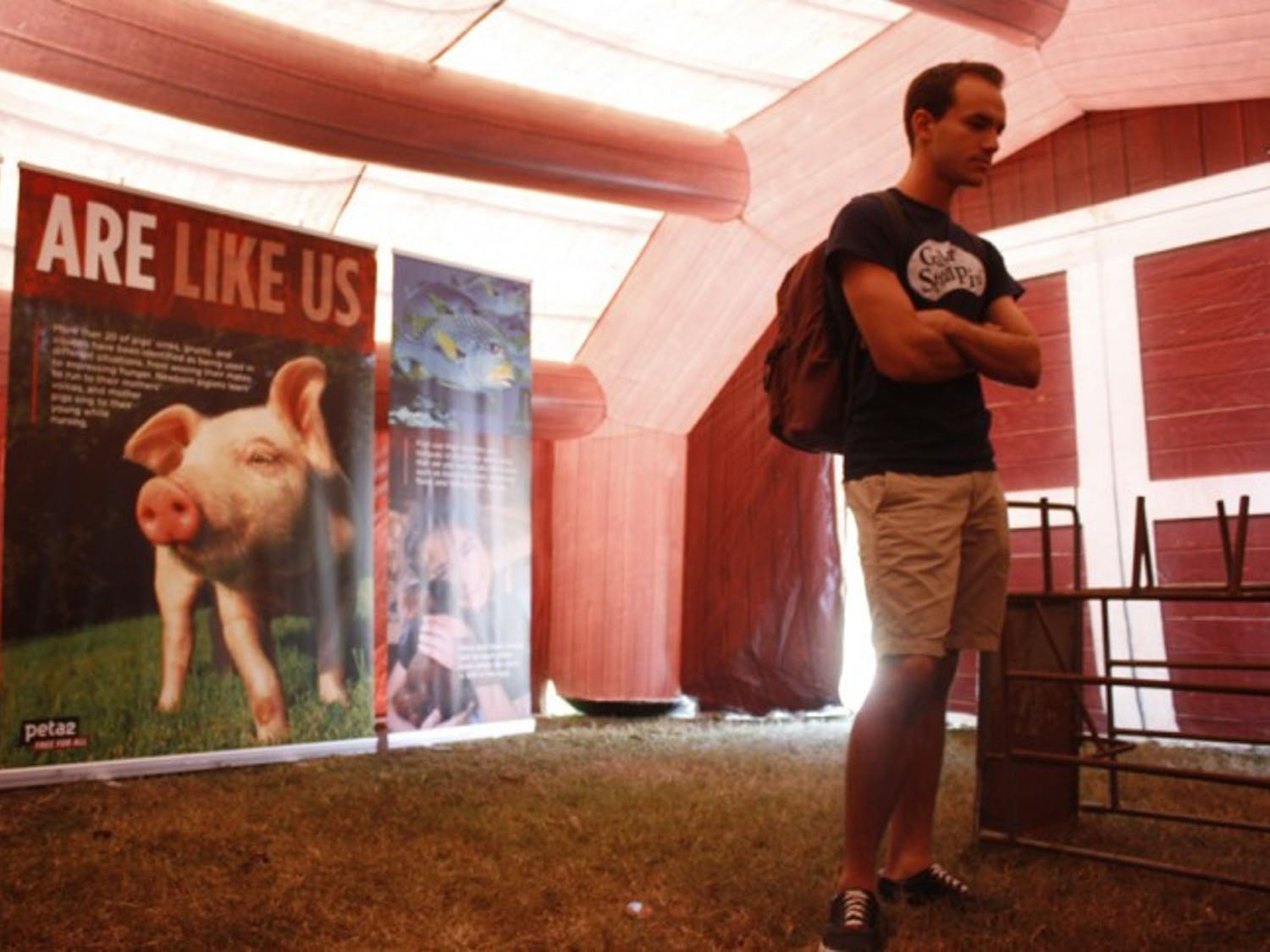 Chemical engineering senior Jhon Cores, 22, reads a banner about the abuse of chickens in peta2's inflatable factory farm on Wednesday afternoon. The farm will be on the Plaza of the Americas through Friday from 10 a.m. to 3 p.m.