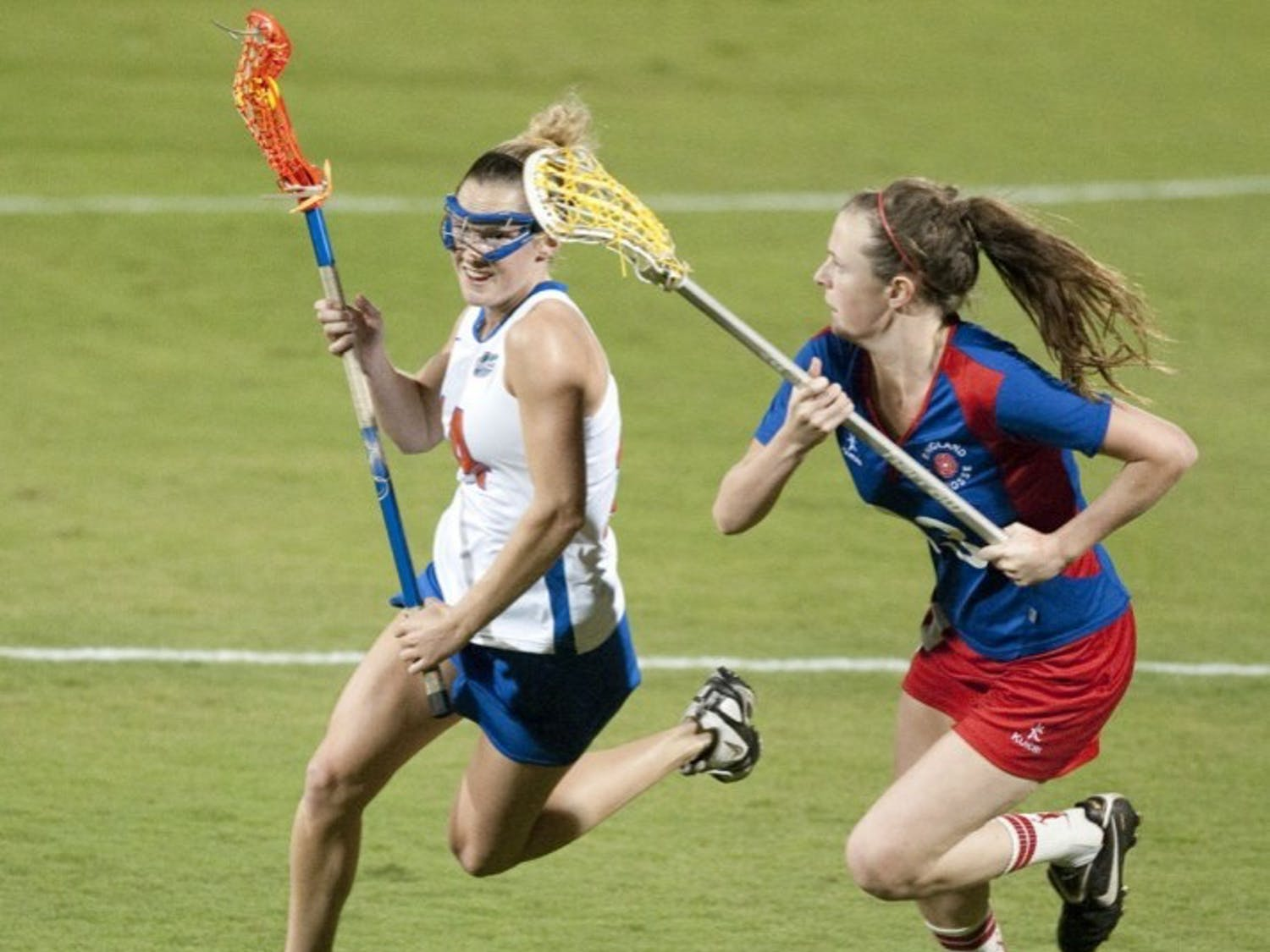 Florida freshman midfielder Nora Barry (left) scored a goal in an exhibition game against England on Jan. 26 shortly after English defender Emily Gray picked up a yellow card.