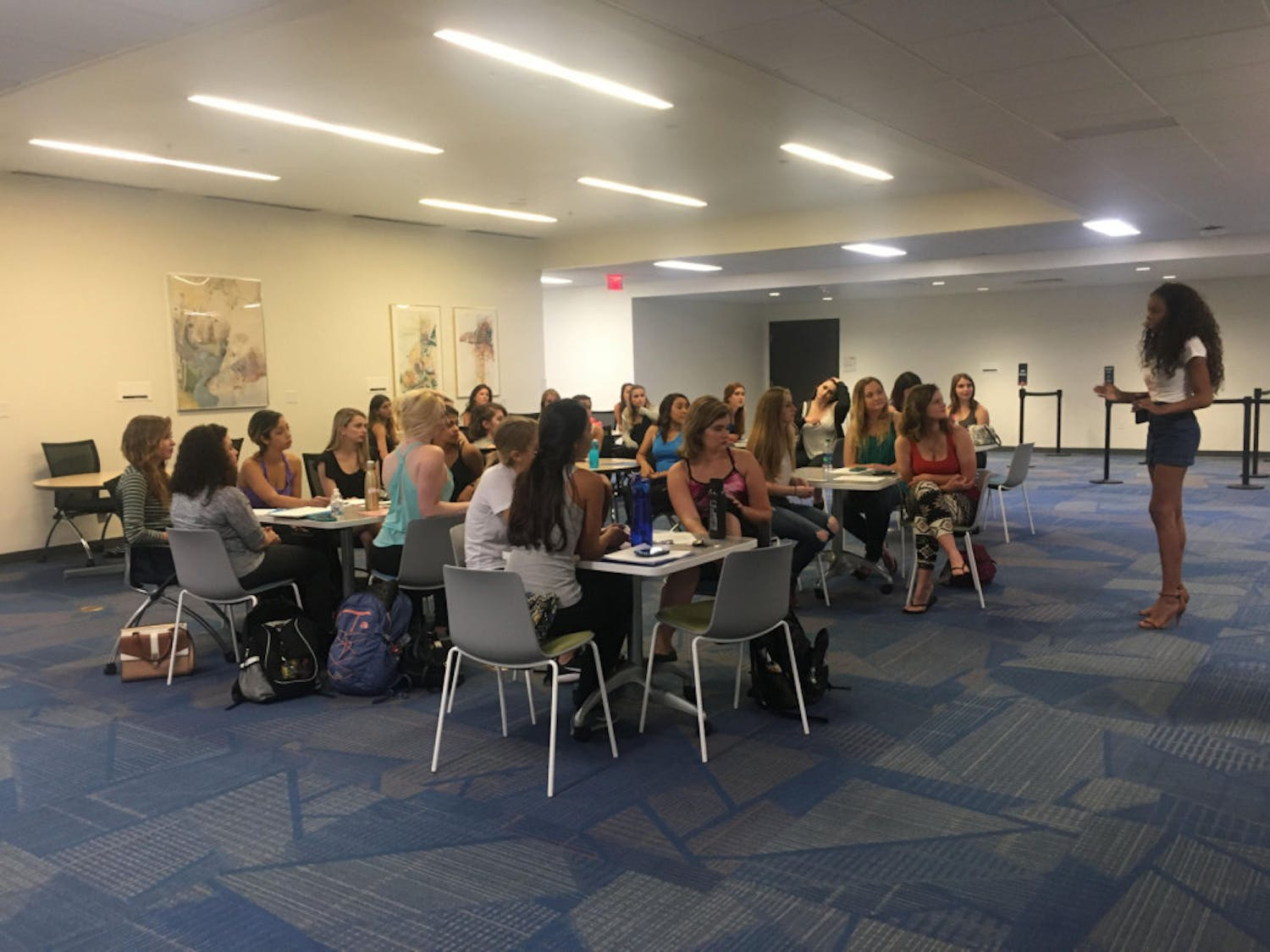 About 30 women in full makeup showed up at the Reitz Union on Sunday to audition for a princess role. Judges looked for attitude, stage presence and confidence.