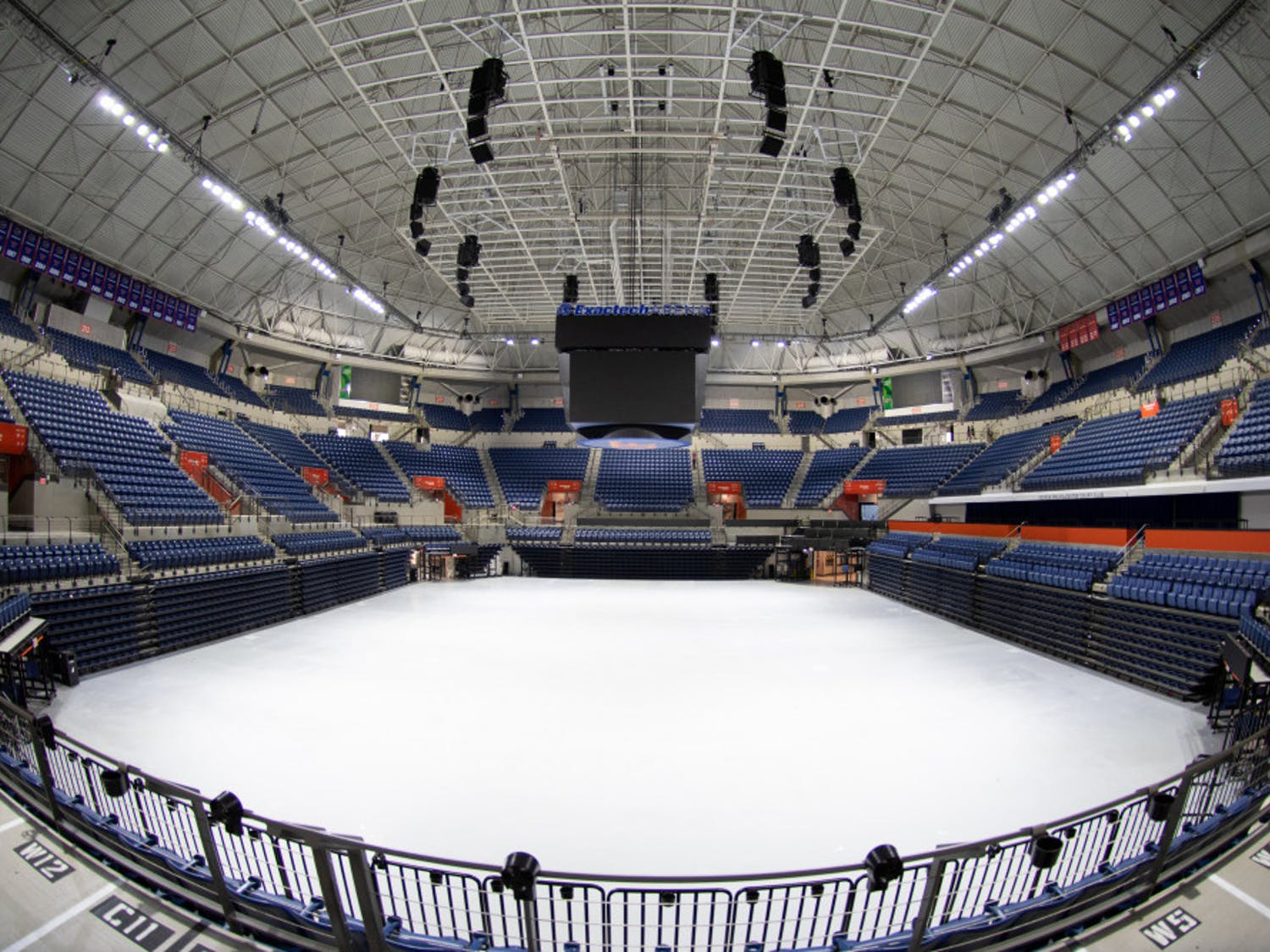 The Stephen C. O'Connell Center originally opened in 1980 and is named after the sixth president of UF. The building underwent a $64.5 million renovation in 2016. In the renovation, the entire interior area was demolished and rebuilt with the addition of a large hanging scoreboard and luxury suites. Gymnastics and swimming areas and locker rooms were improved, and a new entrance was built facing the stadium.