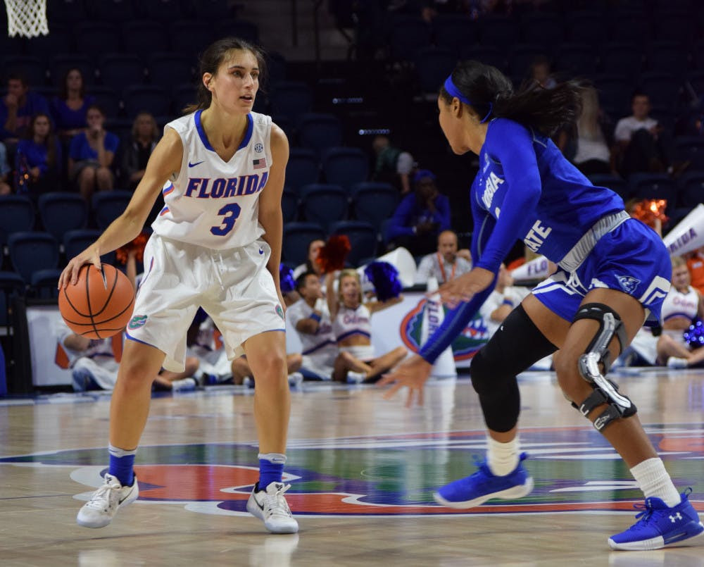 <p>Florida transfer guard Funda Nakkasoglu (3) is still bothered by an ankle injury suffered on Nov. 21.</p>