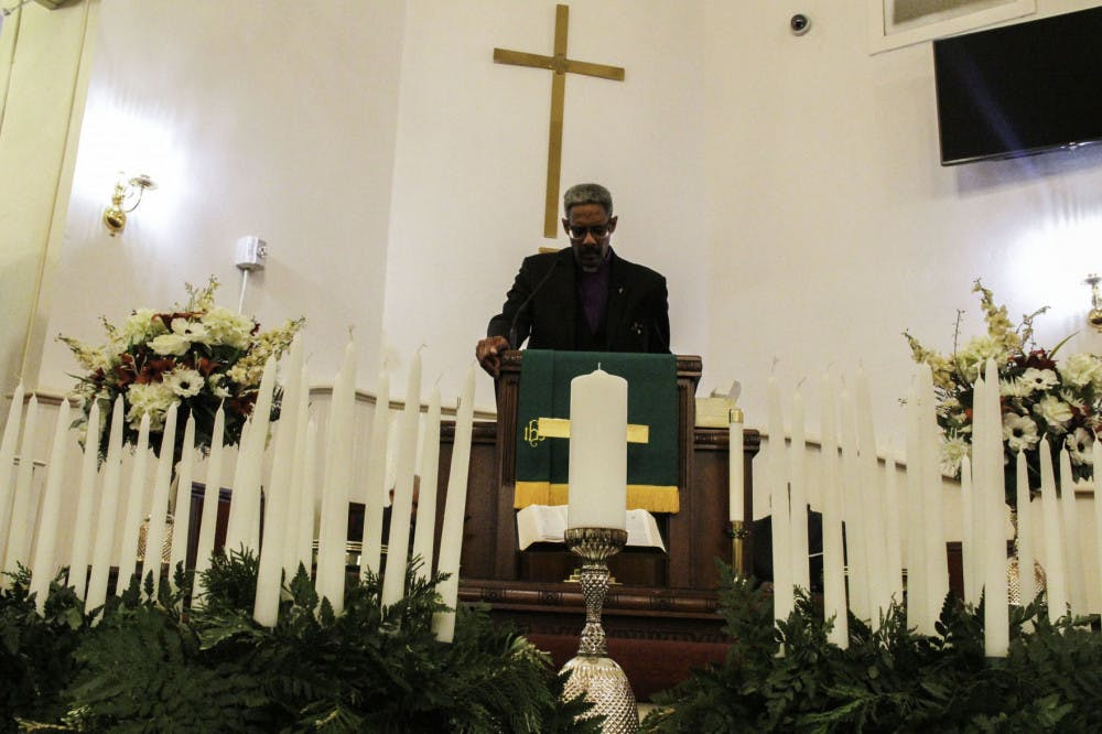 <p><span>Rev. Milford Griner, a</span> <span>local pastor, community leader and advocate</span><span>, speaks to the audience on the importance of fighting the racism that continues to pervade society today at the</span> <span>Mount Pleasant United Methodist Church memorial service Friday evening.</span></p>