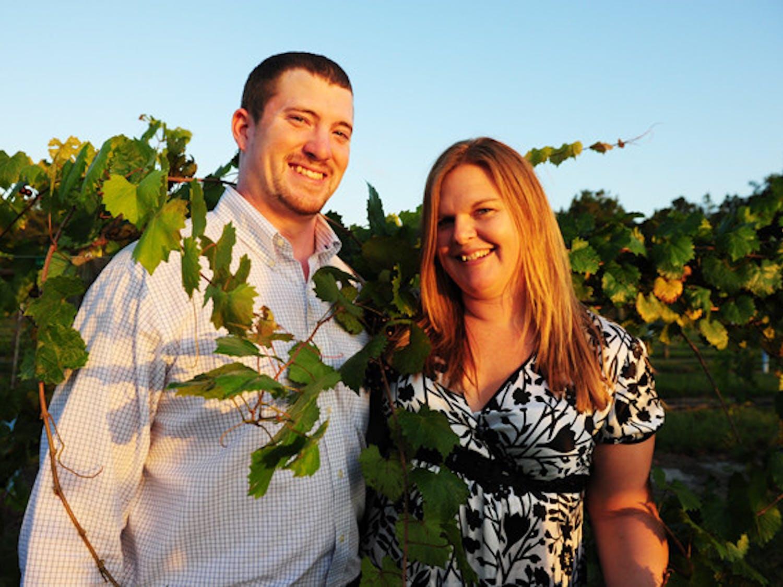 Bradley and Jennifer Ferguson pose in their vineyard, Bluefield Estate Winery, on Wednesday.