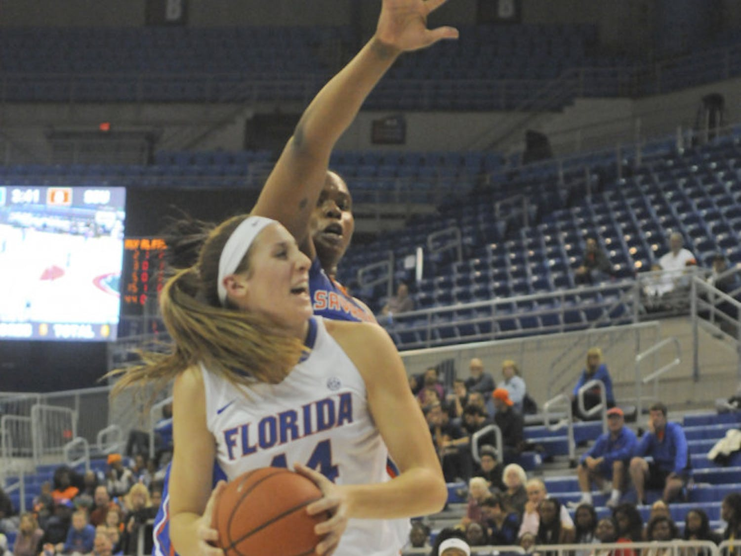 Haley Lorenzen battles for position in the paint during Florida's 99-34 win against Savannah State on Nov. 24, 2015, in the O'Connell Center.
