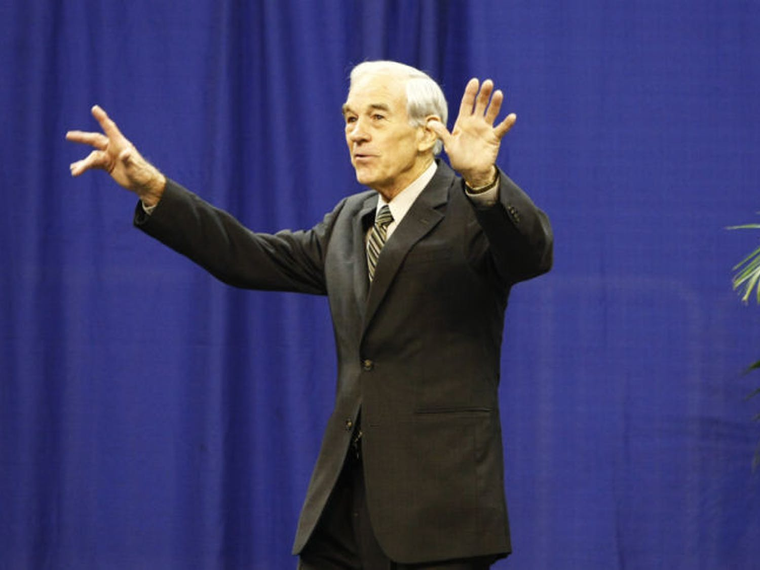 Ron Paul speaks to students and Gainesville residents Monday at the Stephen C. O'Connell Center. He was hosted by Accent Speaker's Bureau and spoke about the political economic situation.