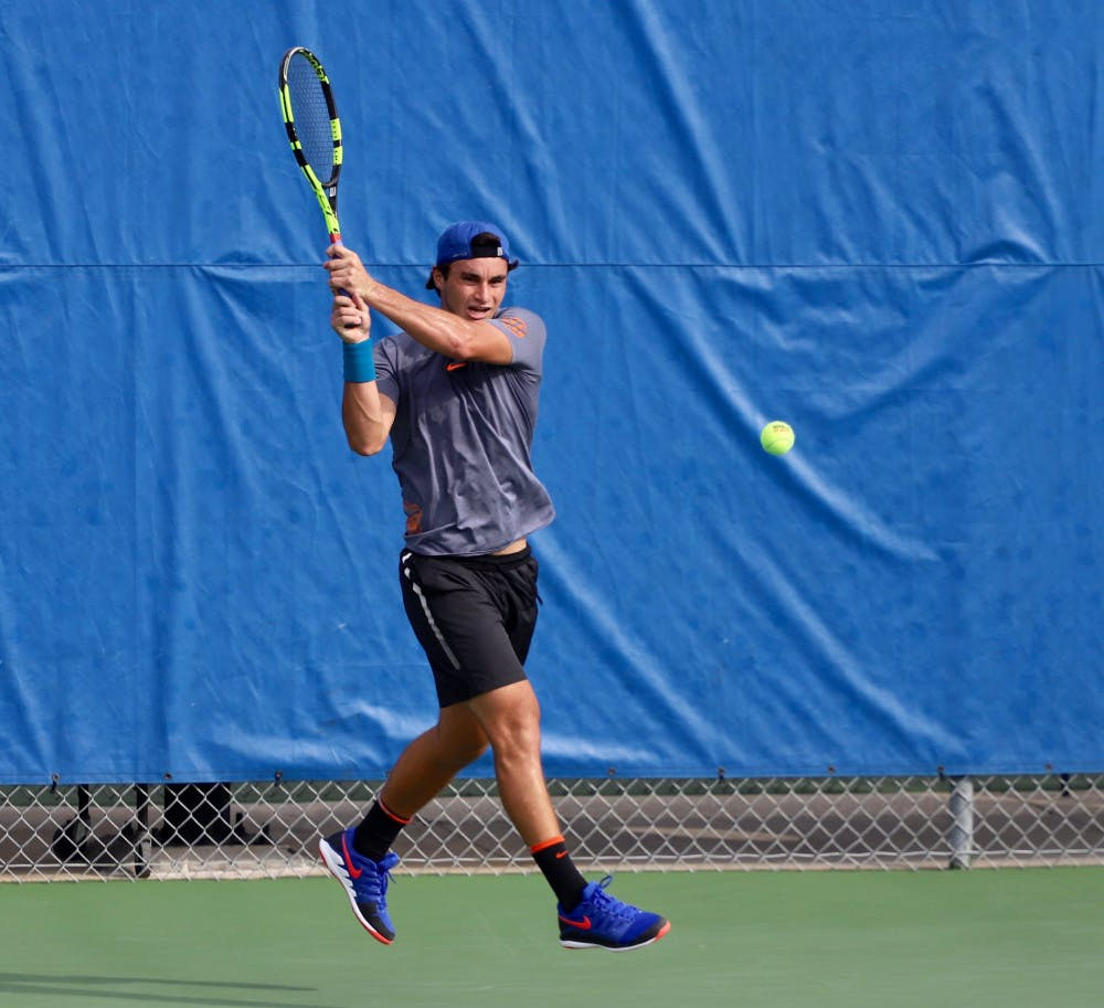 <p>Senior Duarte Vale at day four of the ITA Tournament in Gainesville last year. He and junior Sam Raffice were names team captains Tuesday.</p>