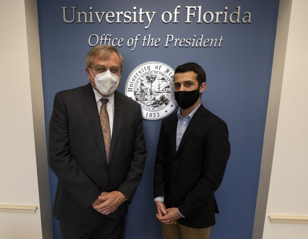<p>Corbin Bolies, 21, university administration reporter for The Independent Florida Alligator, met for an exclusive interview with UF President Kent Fuchs, 65, on Wednesday.</p>