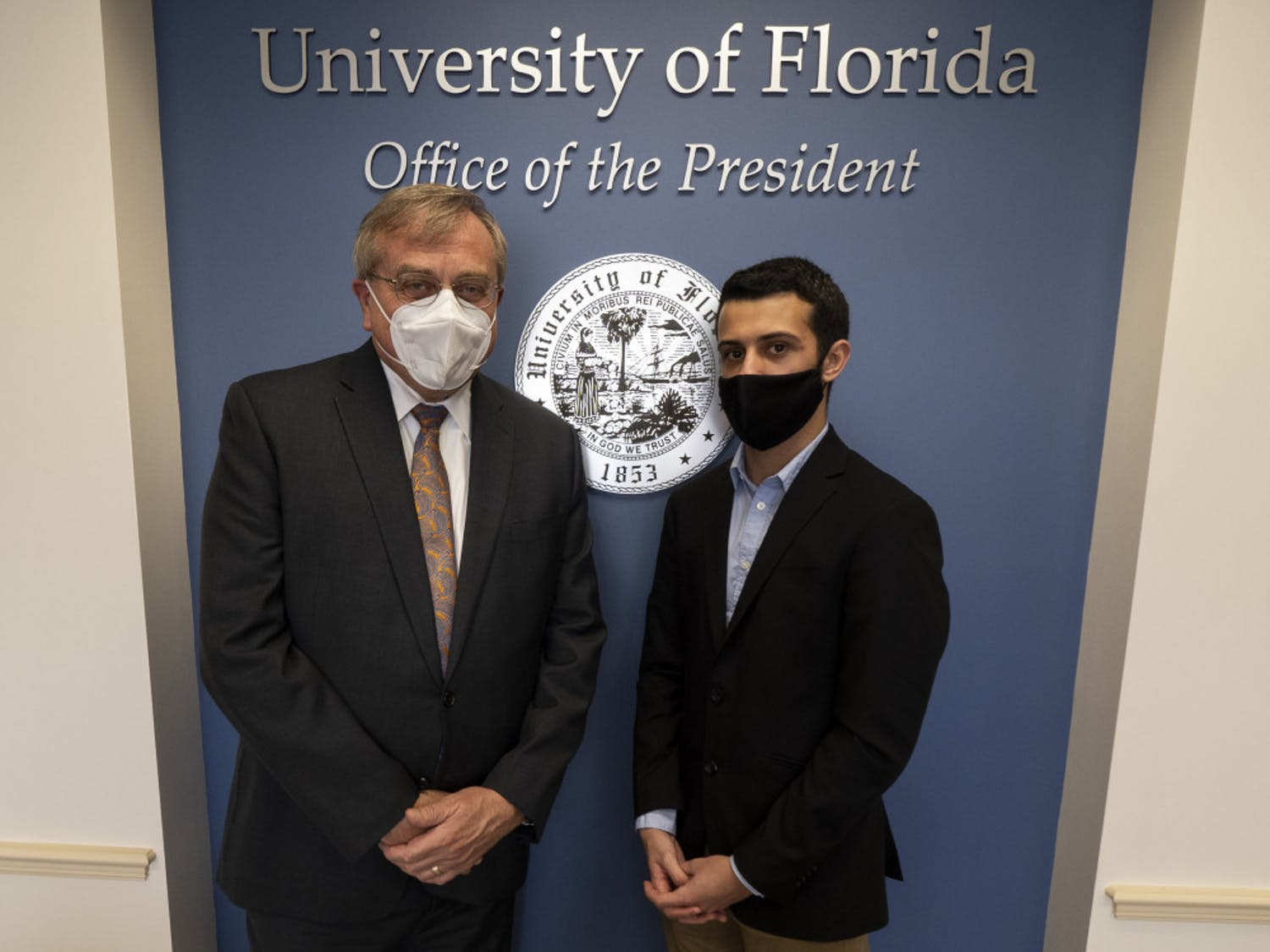 Corbin Bolies, 21, university administration reporter for The Independent Florida Alligator, met for an exclusive interview with UF President Kent Fuchs, 65, on Wednesday.