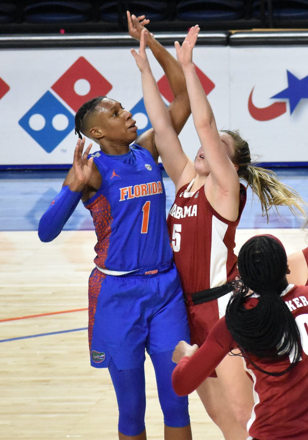 Smith, who became the team's lead scorer in guard Lavender Briggs' absence, had an underwhelming night with only 10 points to her name. Photo from UF-Alabama game Feb. 18.