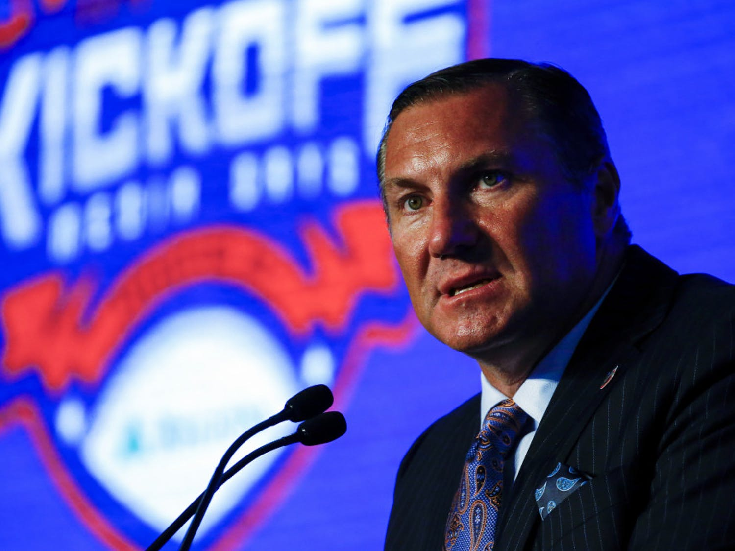 Head Coach Dan Mullen, of Florida, speaks during the NCAA college football Southeastern Conference Media Days, Monday, July 15, 2019, in Hoover, Ala.