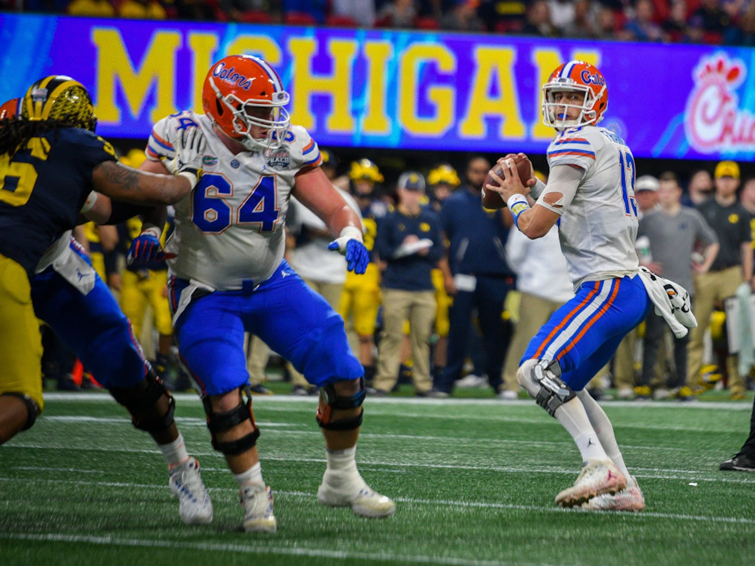 Florida quarterback Feleipe Franks threw for 173 yards on 13-of-23 passing and a touchdown in UF's Peach Bowl win over Michigan in Atlanta on Dec. 29.