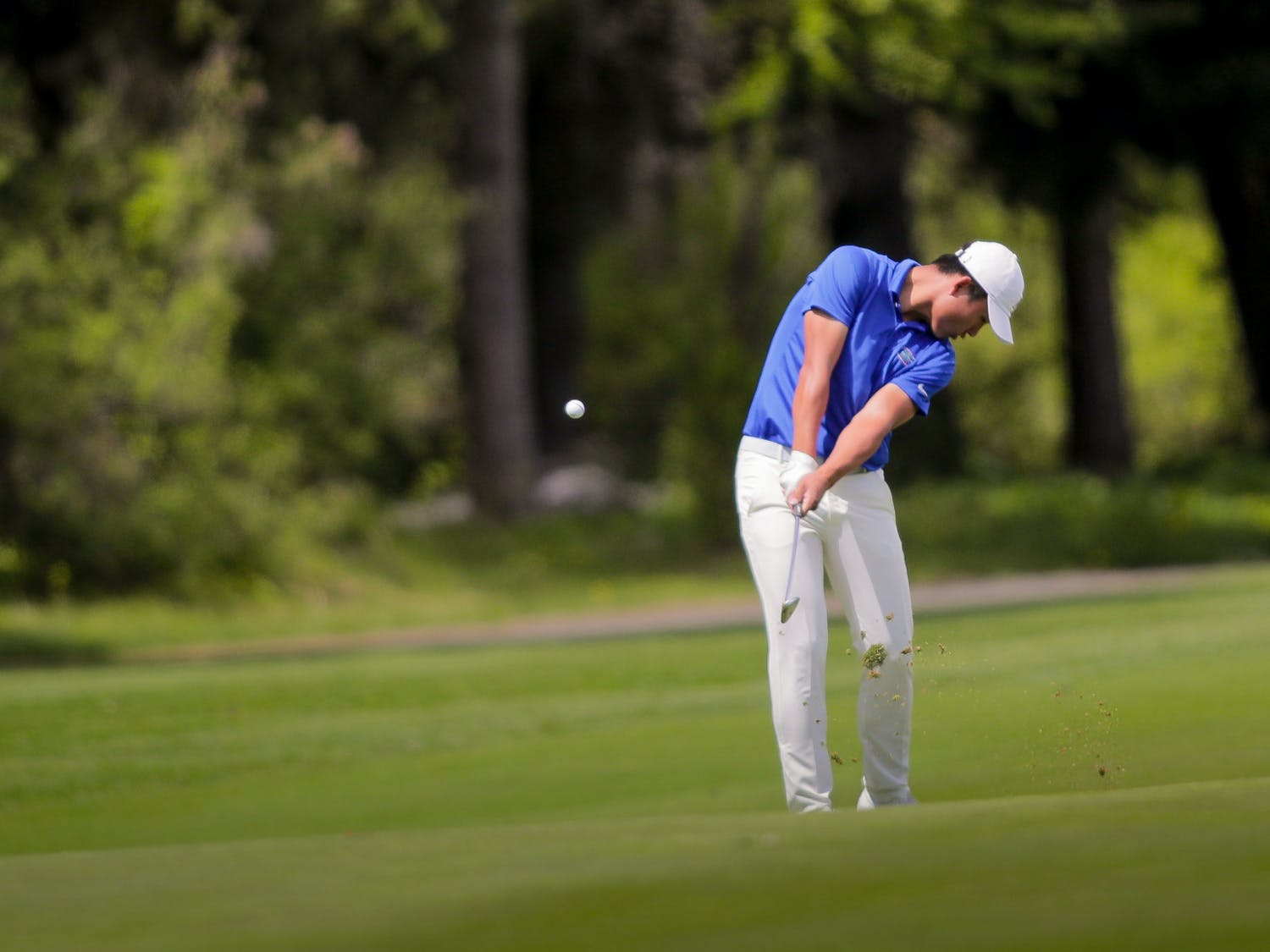Yuxin Lin of The University of Florida men's golf team competes in the first round of the 2021 NCAA  Cle Elum Regional at Tumble Creek Golf Club in Cle Elum, Wash., on May 17, 2021. (Photography by Scott Eklund/Red Box Pictures)