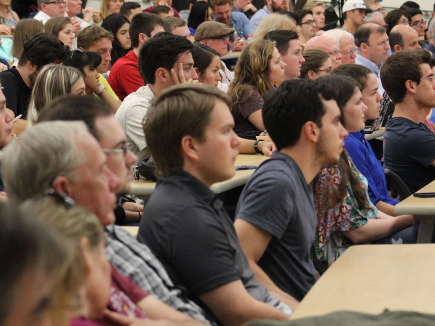 Approximately 300 people gathered in Carleton Auditorium on Thursday to hear Dinesh D'Souza talk fascism and race.