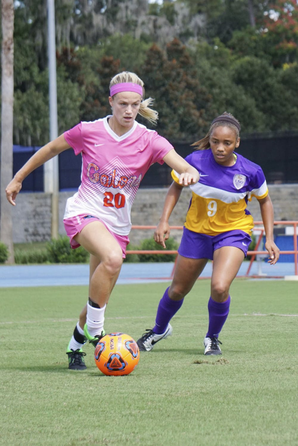 <p>UF defender Christen Westphal dribbles during Florida&#x27;s 2-1 win against LSU on Oct. 11, 2015, at James G. Pressly Stadium. Wespthal now plays right-back for the Portland Thorns and is one of six former Gators playing professionally in the NWSL. </p>