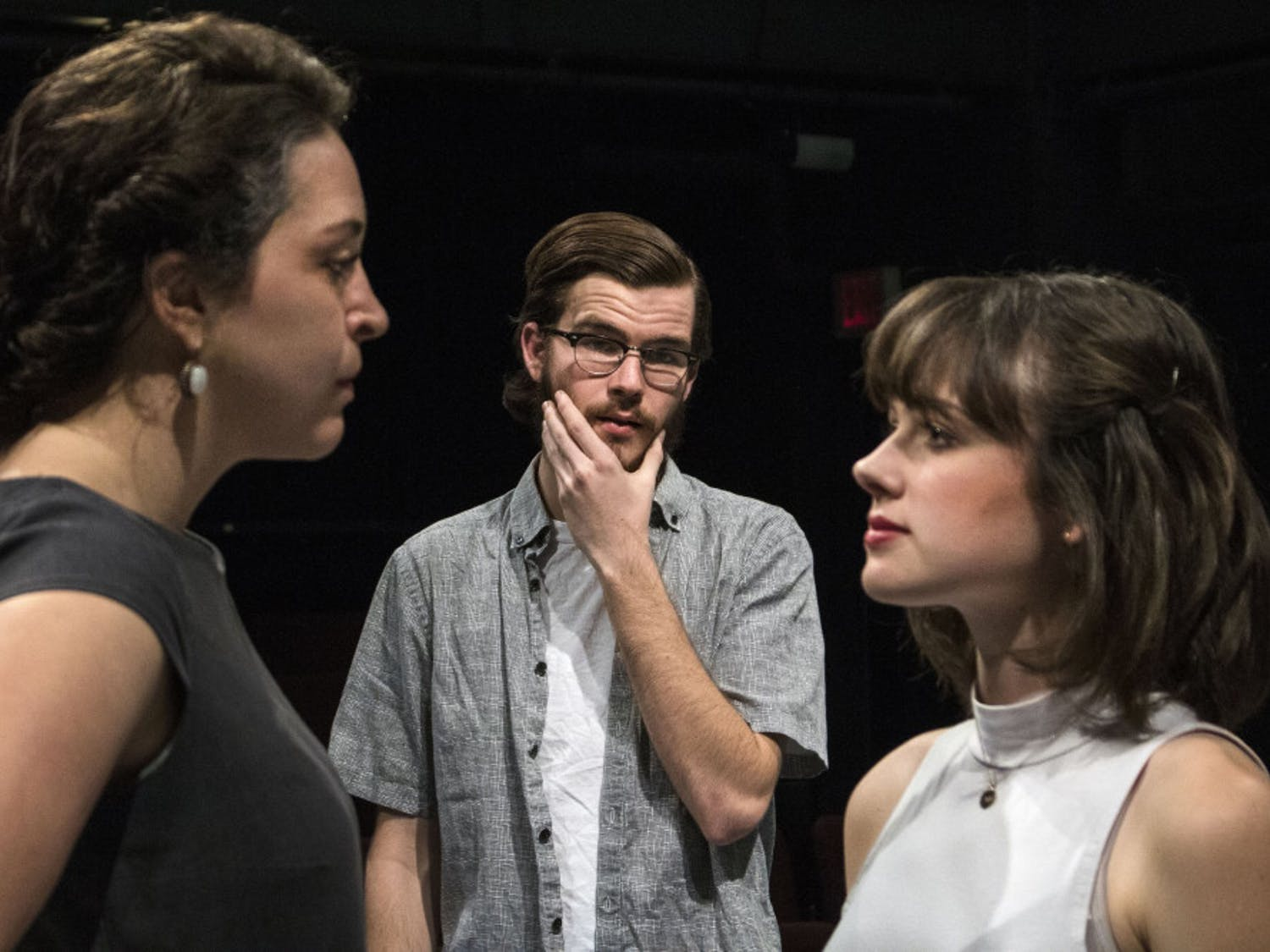 """Elise Selah, Storm Tracy and Lauren Crandall act out a scene from """"White Guy on the Bus,"""" a play by Bruce Graham being put on by the UF School of Theatre and Dance. Showings for the play will begin March 21 in the McGuire Pavilion Black Box Theatre."""