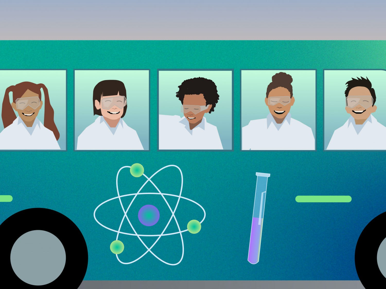 The idea of the Science Bus originated in Tucson, Arizona, when Chris DiScenza founded the Physics Factory with a group of three other teachers. It is a refurbished school bus housing interactive physics exhibits.