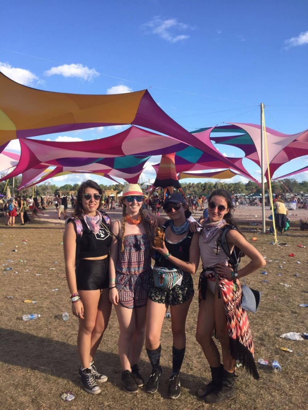 <p><span>From left: Caroline Alfano, Nicole Scherten, Laura Delaney and Meghan Mapes pose together at Okeechobee Music Festival on March 4. The next day, Alfano and Scherten left for Alfano's home in Boca Raton and died in a crash.</span></p>