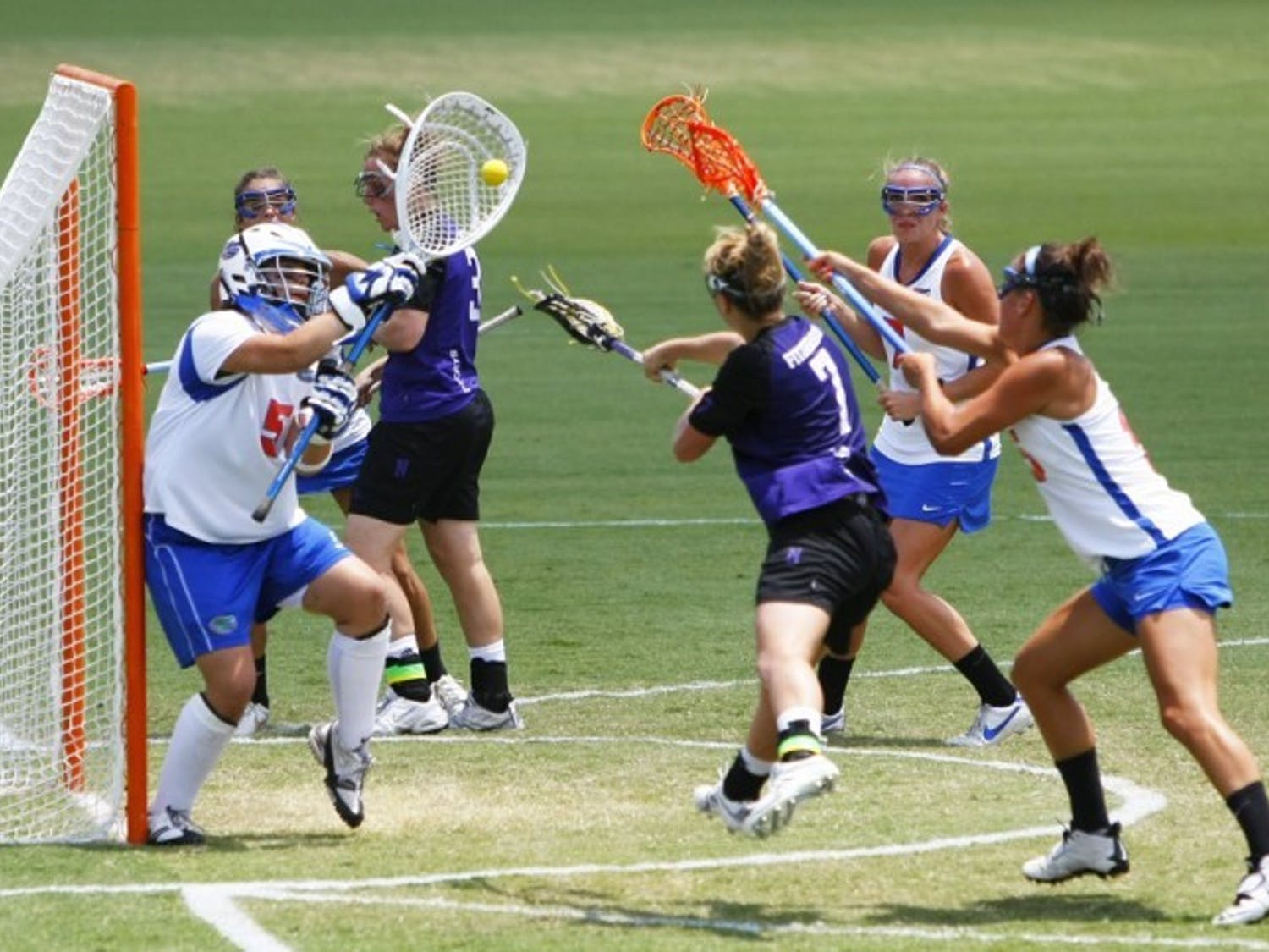 Mikey Meagher (5) defends a goal against Northwestern on May 5, 2012. Coach Amanda O'Leary pulled Meagher in the second half of Florida's loss to Penn State to give the Gators an extra defender.