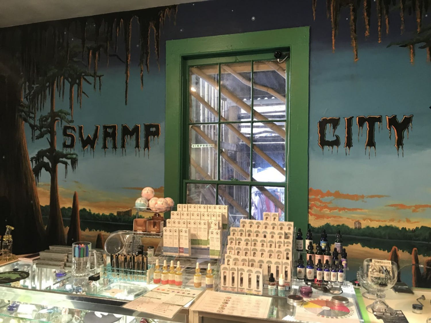 Swamp City Gallery Lounge, which offers CBD products and craft beer, opened on Saturday.
