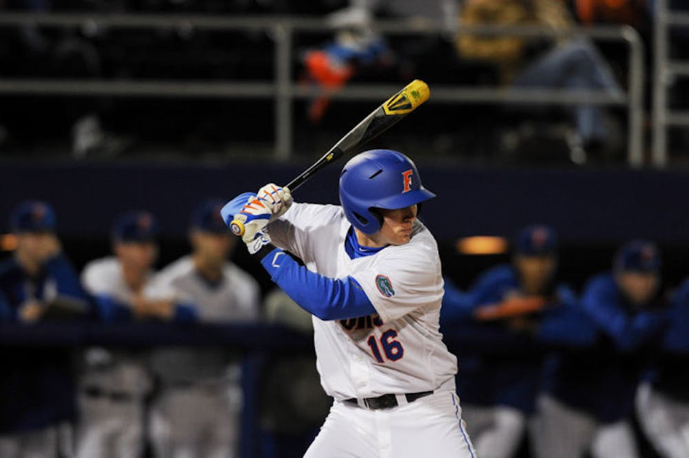<p>Justin Shafer bats during Florida's 4-0 win against Maryland on Feb. 14 at McKethan Stadium.</p>