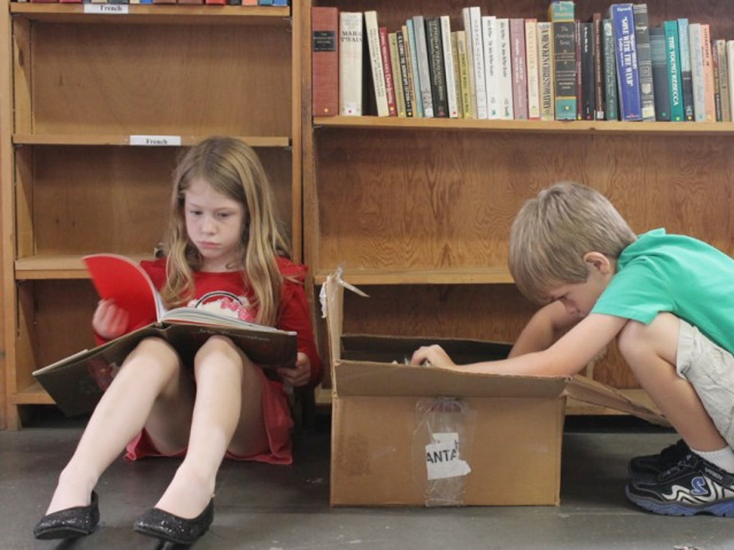 """""""I wish I had a million books,"""" said Lily Mills, 7, before she sat with her brother Hayden, 5, at the Friends of the Library book sale. The sale, which started Saturday and ends Wednesday, raises money for the Alachua County Library District."""