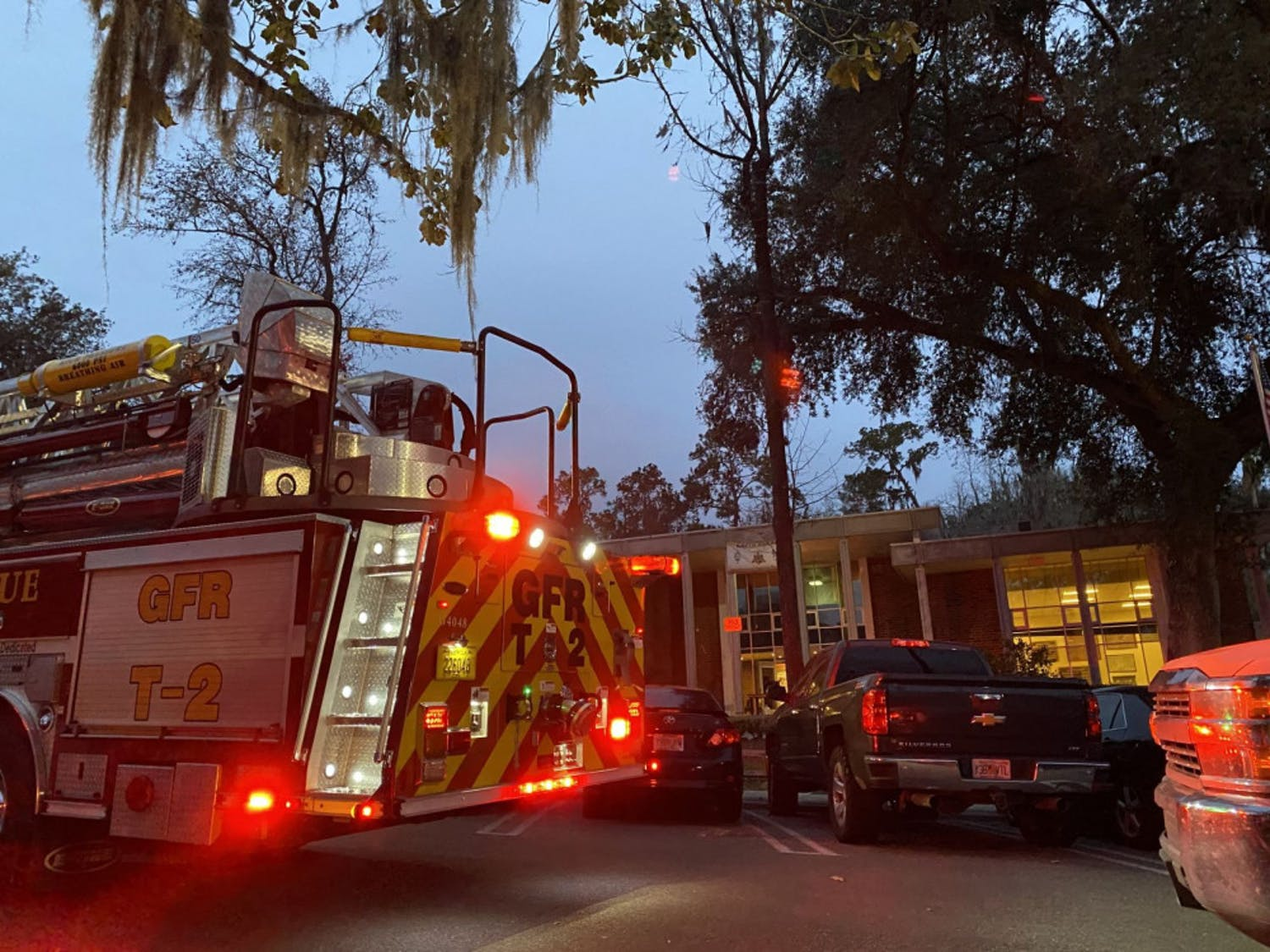 Gainesville Fire Rescue responds Wednesday to smoke coming out of the Kappa Alpha fraternity house.