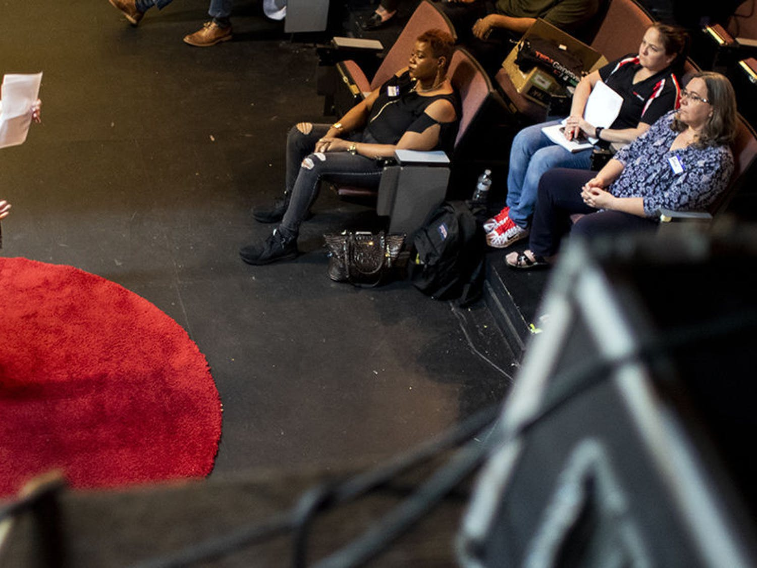 Mary Alford speaks Wednesday during a dress rehearsal for TEDxGainesville: Courageous Conversations at the Acrosstown Repertory Theatre. TEDxGainesville will performat the Cade Museumfor Creativity and Innovation on Saturday Feb.9 at 1 p.m.