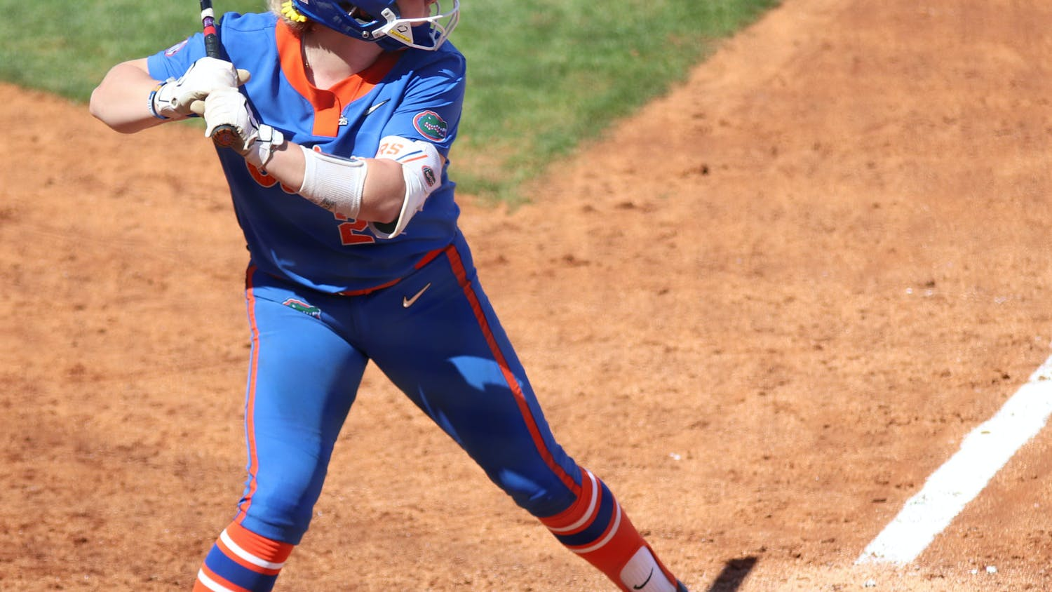 Florida catcher Julia Cottrill prepares to swing against Louisville on February 27.