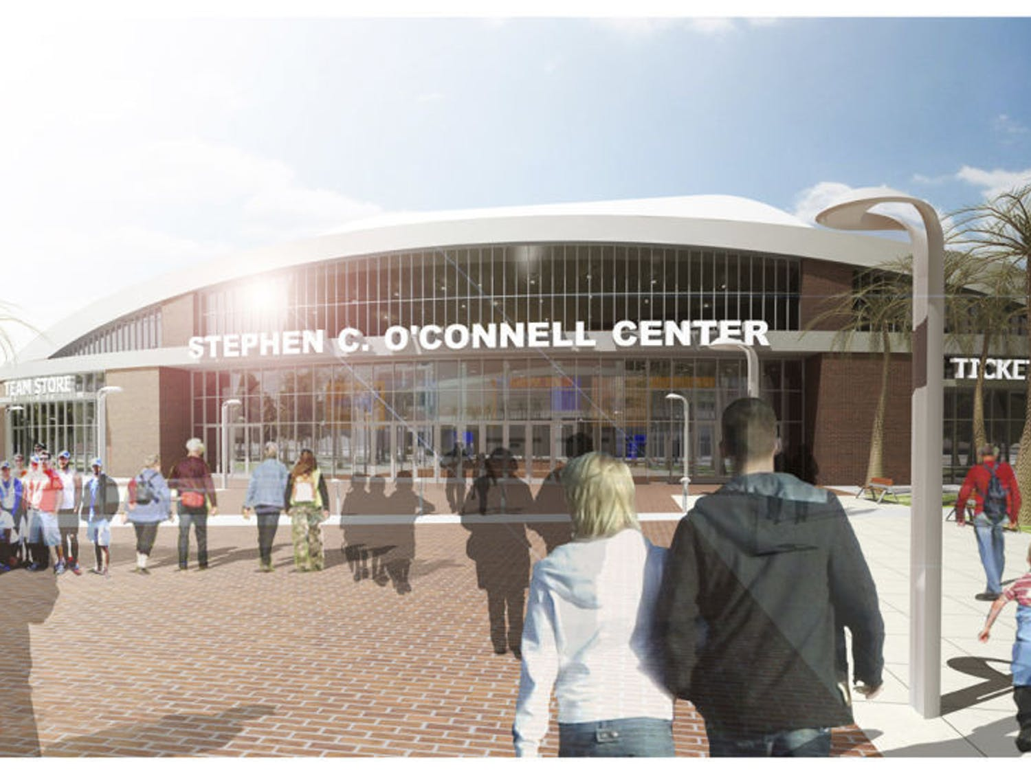 This is a rendering showing the main renovation expected of the O'Connell Center: a prominent new entrance facing the Heavener Football Complex.