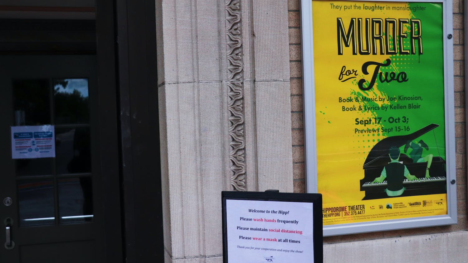 """The Hippodrome Theatre, located at 25 SE 2nd Place, will open its doors on Friday, Sept. 17, 2021 for """"Murder For Two,"""" one of the first in-person performances since the beginning of the COVID-19 pandemic."""